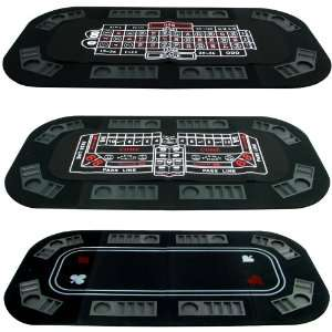 3 in 1 Poker, Craps & Roulette Tri fold Table Top Sports