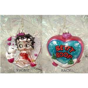 Betty Boop & Bimbo Glass Heart Christmas Ornament #BB0263
