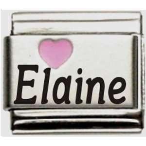 Elaine Pink Heart Laser Name Italian Charm Link Jewelry