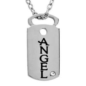 Stainless Steel ANGEL Dog Tag with Clear Crystal Pendant