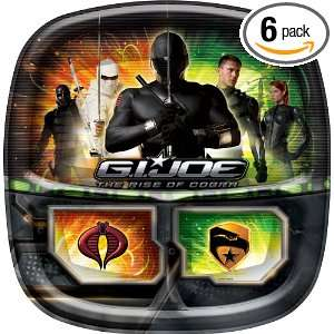 Designware GI Joe 9 Inch Square Divided Dinner Plate, 8 count Packages