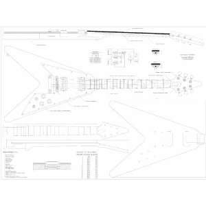 Full Scale Plans to make Gibson Flying V Electric Guitar