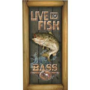 Rivers Edge Small Live to Bass Fish 3D Pub Sign Home