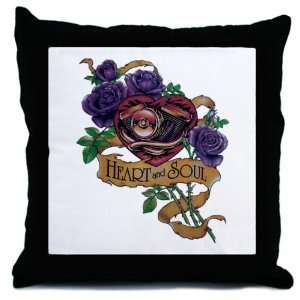 Throw Pillow Heart and Soul Roses and Motorcycle Engine