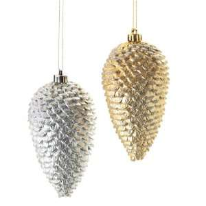 Club Pack of 12 Gold and Silver Pinecone Christmas