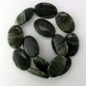 GREEN CHINESE RIVER STONE 22x30MM OVAL BEADS 15