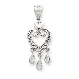 com 14k White Gold Solid Diamond Cut Fancy Dangle Heart Pendant West