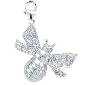 14K White Gold 1/10ct HIJ Diamond Bee Spring Ring Charm