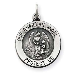 Silver Antiqued Guardian Angel Medal: West Coast Jewelry: Jewelry