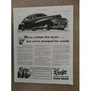 1941 Dodge Luxury Liner with Fluid Drive, Vintage 40s full page print