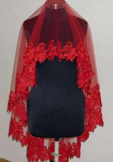 the matching veil for the red wedding dress. You will get one red veil