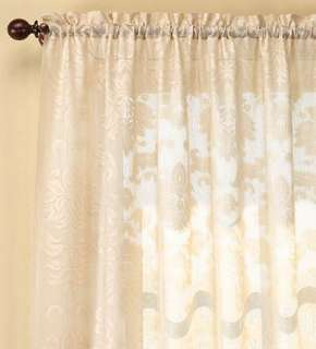 Damask Lace Curtain Panel   Plow & Hearth
