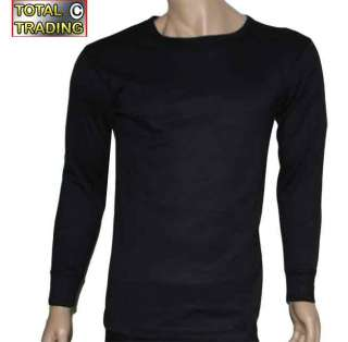 Mens thermal underwear long sleeve VESTS BLACK ONE