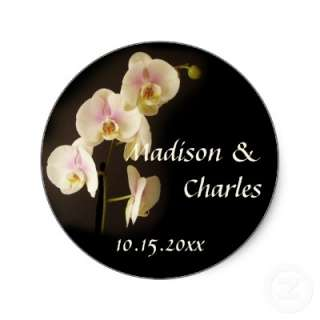 Flower phalaenopsis orchid wedding favor label round sticker from