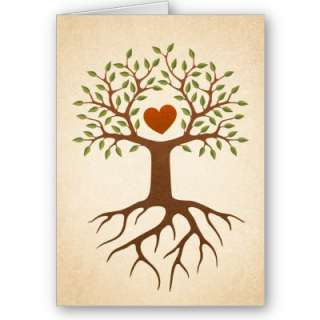 Tree with heart and roots family reunion invite cards from Zazzle