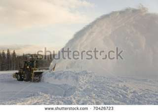 Rotary Snow Plow Working At Grand Teton National Park. Stock Photo