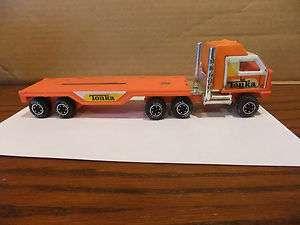 Old Vintage Antique Tonka Semi Truck and Flat Bed Trailer Orange