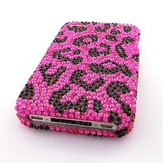 Pink Leopard Bling Hard Case Cover For Apple iPhone 4