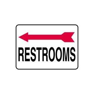 RESTROOMS (ARROW LEFT) Sign   10 x 14 .040 Aluminum