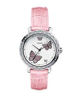 GUESS Watch, Womens Butterfly Dial Leather Strap G75989L   GUESS