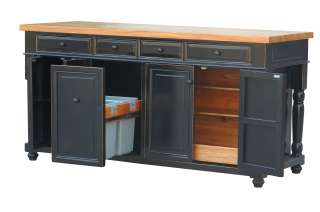 6ft Black Kitchen Island Solid Maple Butcher Block Counter