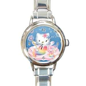 Italian Round Charm Hello Kitty Mermaid Blue Face Watch