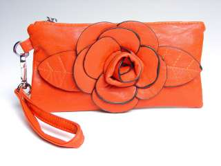 Chic Burnt Orange Flower Clutch Bag Purse