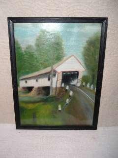 Original 1950s Oil Painting Covered Bridge