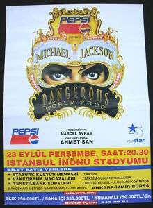 MICHAEL JACKSON Dangerous Tour TURKEY Concert Poster 93