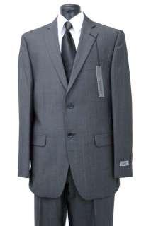 Suit Black / White Gray 100% Wool 2 Button Jacket Flat Front Pants D7