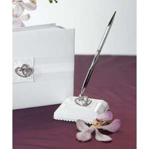 Crystal Double Heart Satin Wrapped Pen Set   White/Ivory