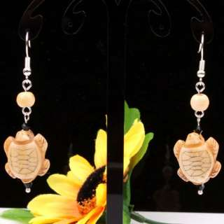 Tibetan Ox Bone Carved Double Kiss Turtle Bead Earrings