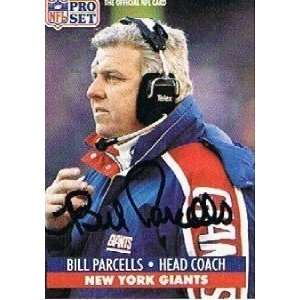 Bill Parcells Signed Football   Set Card GIANTS