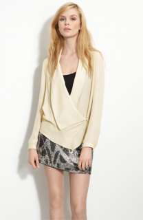 Haute Hippie Draped Lapel Sheer Silk Wrap Blouse