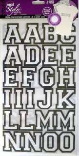 Iron On Fabric Transfers 1.5 Flocked Letters   White/Black