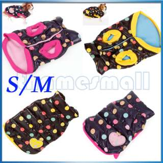 Pet Dog Colorful Dots Dotted Vest Puff Jacket Coat Apparel Clothing S