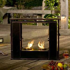 Portable Indoor Outdoor Gel Fuel Black Fireplace FA5847