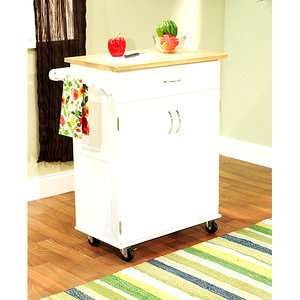 Kitchen Cart White with Wood Top