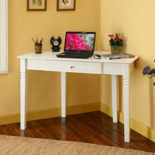 48 in. White Solid Wood Corner Home Office Desk Drawer