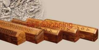 Hand Carved Wooden Incense Burner Holder Box w/ Gift