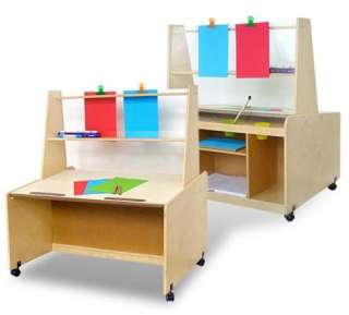 Double Sided Childrens Kids Wooden Art Station w/ Table