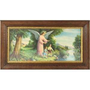 Vintage German Art Paper Color Lithograph Guardian Angel Children