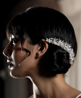 White Pearl & Crystal Flowers in Silver Wedding Hair Comb