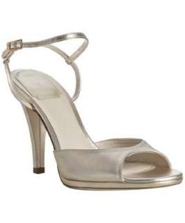 Christian Dior gold metallic leather peep toe sandals   up to