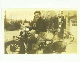 Old Photo Motorcycle Gulf Gas Station Clockface Pump