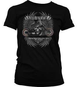 Bobber Motorcycle Wings Old School Biker Girls T Shirt