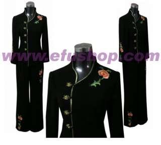 Traje pantalón de lino negro por encargo chino bordados