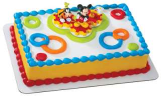 Mickey Mouse and Goofy gears birthday cake kit topper