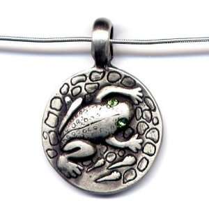 Green Crystal Frog Pendant Necklace 16 Sterling Silver Chain Animal