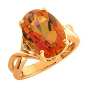Twilight Orange Oval Mystic Quartz and Topaz Gold Plated Silver Ring